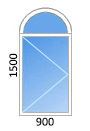 одностворчатое арочное пластиковое окно