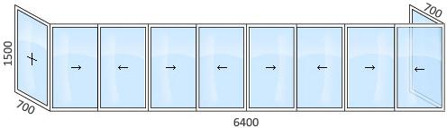 Остекление балкона в доме серии 1-515/9м.